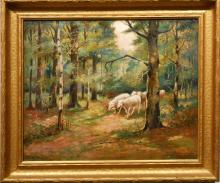 J. Clyde: Antique American Tonalist Oil Painting Of Sheep
