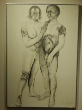 Lowell Nesbitt: Couple With Flower Tattoos, 1975 Drawing