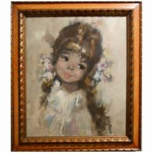 Koros: Oil Painting Of A Pretty Girl c.1965