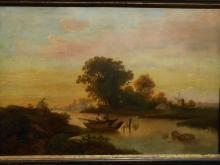 1860 Dutch Landscape With Fishermen