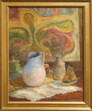Ronald Seager: Still Life Oil With Toy Boat