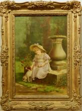 Maud Hollyer: Girl with Dog, 1894 Oil Painting