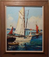 J.A.Stone Marine Oil Painting Of Sailboats
