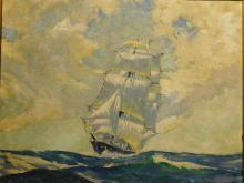 Sweetman: Clipper Ship, 1952 oil painting