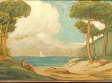 Elmer Ellsworth Garnsey: Woman at the Shore, watercolor