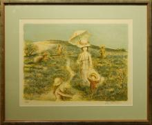 LaLande: Woman With Umbrella,  Lithograph
