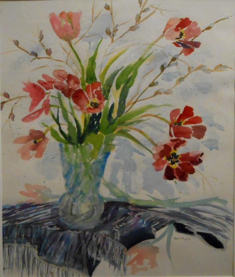 Angelina Wood: Still Life Floral Watercolor With Tulips