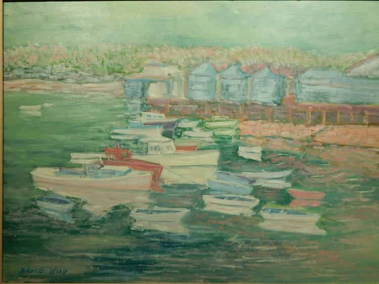 Bruce Wood: Pigeon Cove, Gloucester 1989 Oil Painting