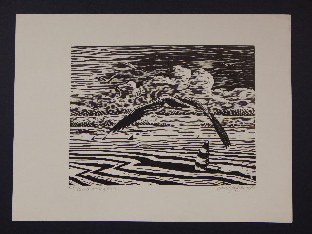 Howard J. Besnia: Master Of The Air 1955 Lino Cut Print
