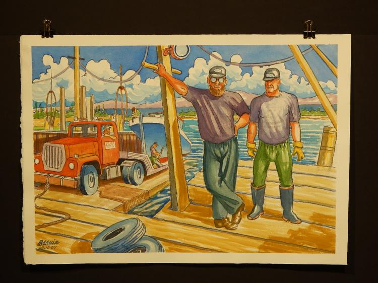 Howard John Besnia: Fishermen Watercolor