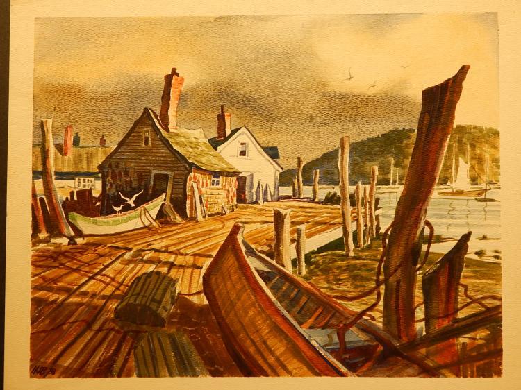 Howard John Besnia: Marine Boats On Dock, Watercolor