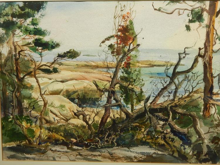 Morton R. Schwartz: Horse Island, Long Island Sound Watercolor