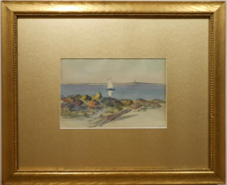 MCD: Coastal Scene Watercolor c.1900