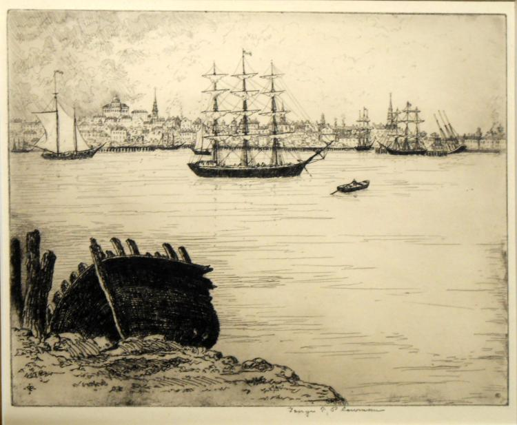George Taylor Plowman: Boston Harbor Etching