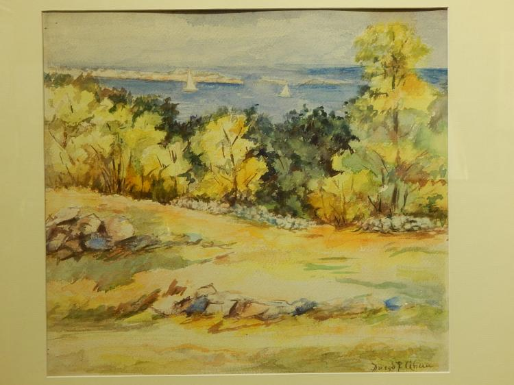 Watercolor Landscape With Ocean View
