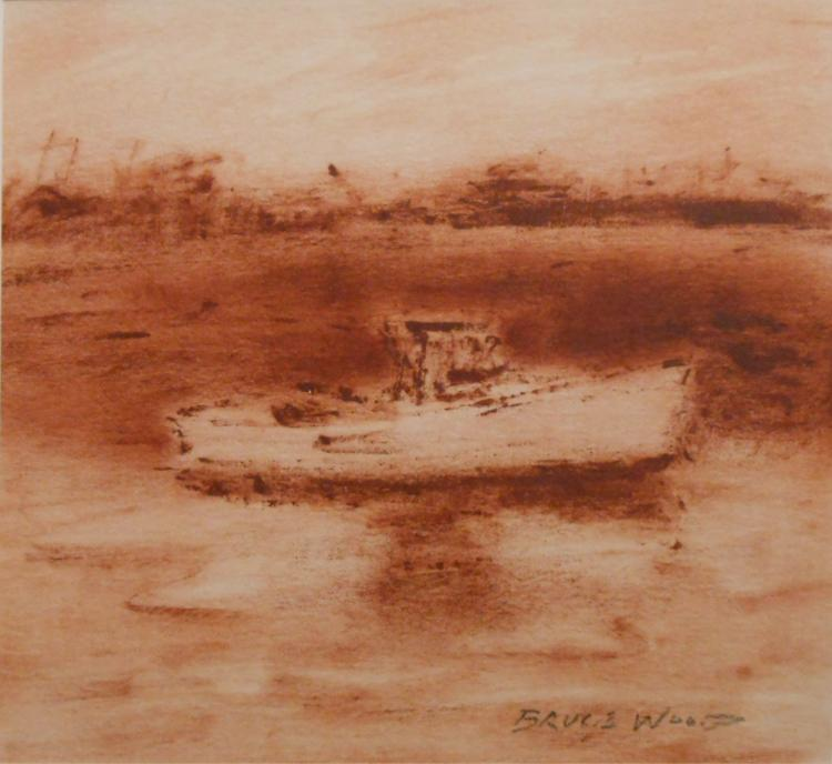 Bruce Wood: Lobster Boat, Oil on Paper