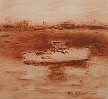 Bruce Wood: Lobster Boat, Oil on Paper