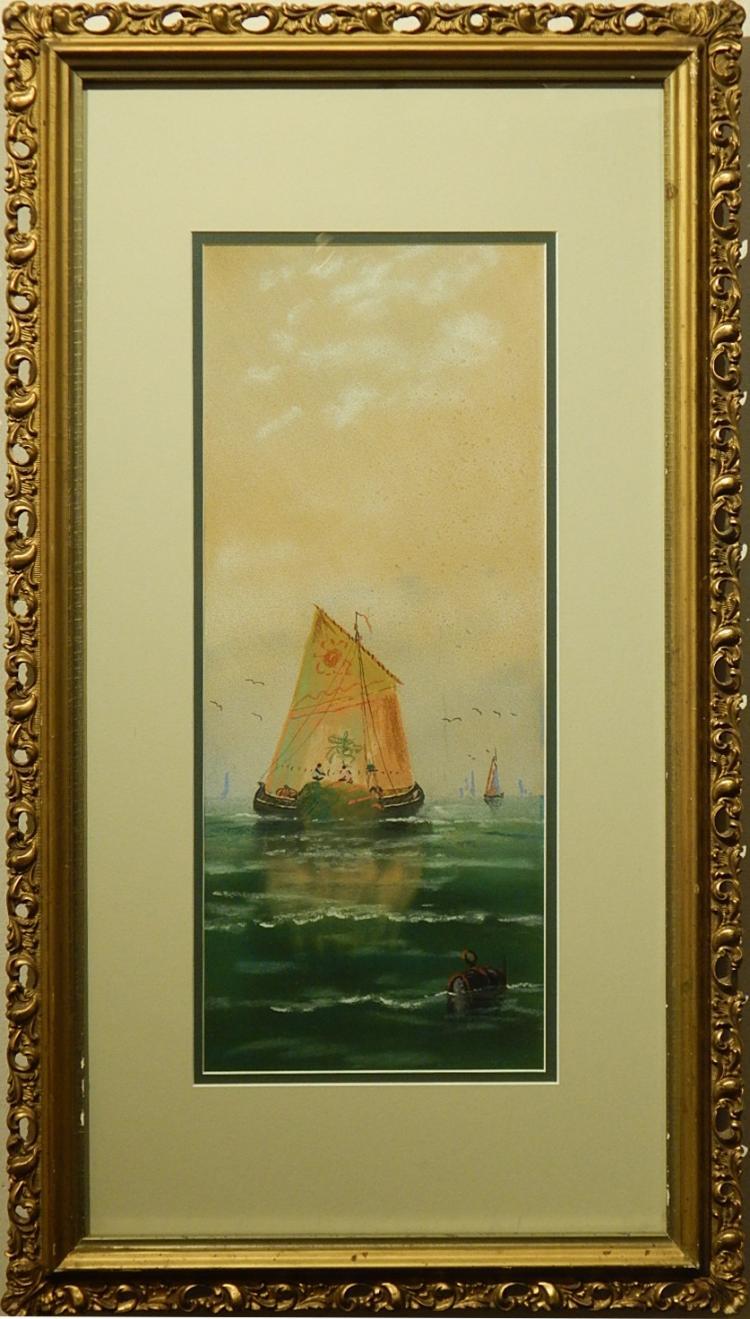 Fishing Boat, Pastel c.1900
