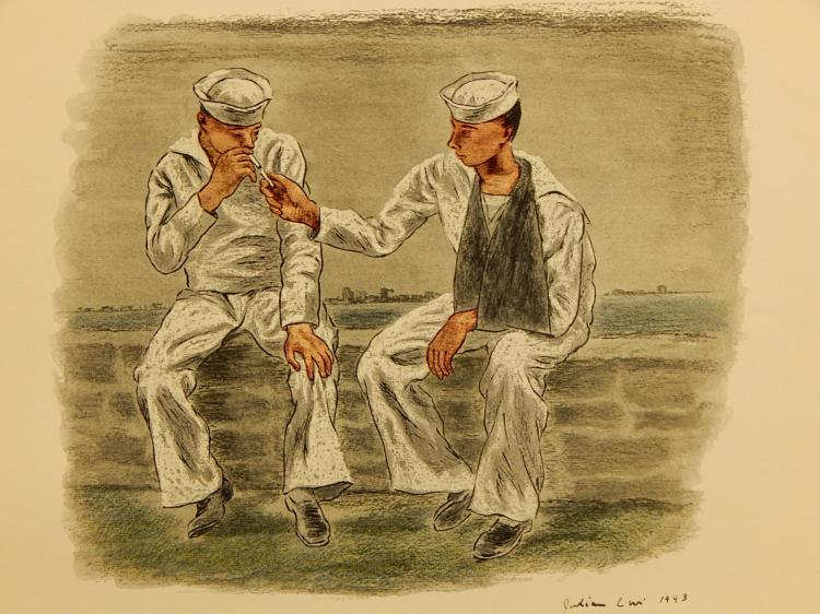 Julian Levy (After): Convalescents At Ease, 1944 Lithograph