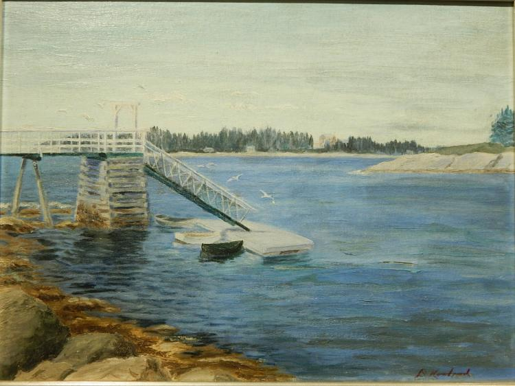 D. Howland: Dock With Dinghies, Oil Painting