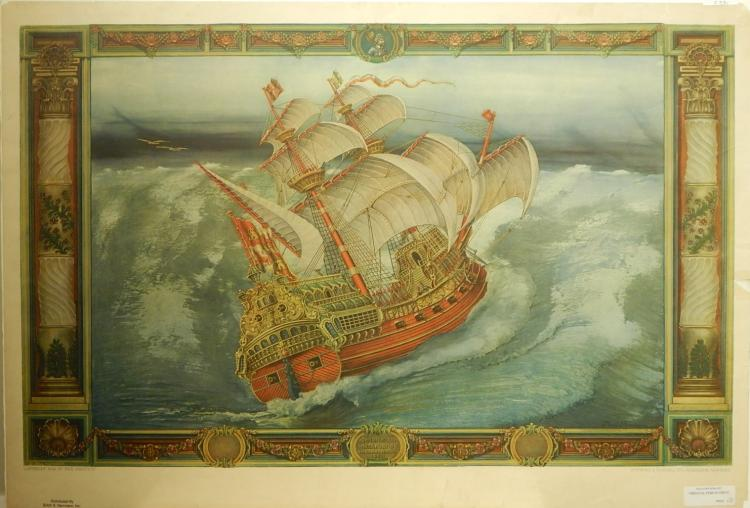 Paul Farnham (After): Spanish Galeon 1926 Lithograph