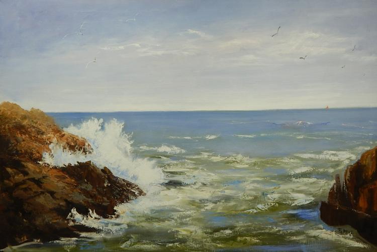 Pappas: Ocean Surf & Rocks Oil Painting