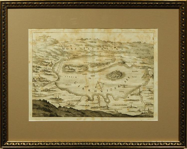 Matthaeus Merian:  17th Century Engraved Map of Cirkhnizer See