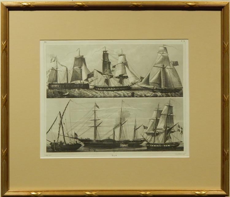 Henry Winkles: Masted Ships, 19th Century Engraving