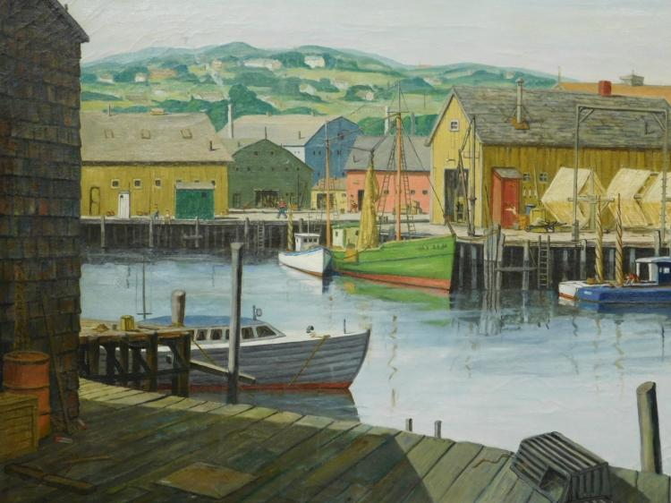 Charles T. Stepule: Gloucester Harbor, 1952 Oil Painting