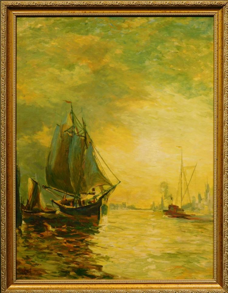 Harbor With Sail Boats and City Scape, c.1920, Oil