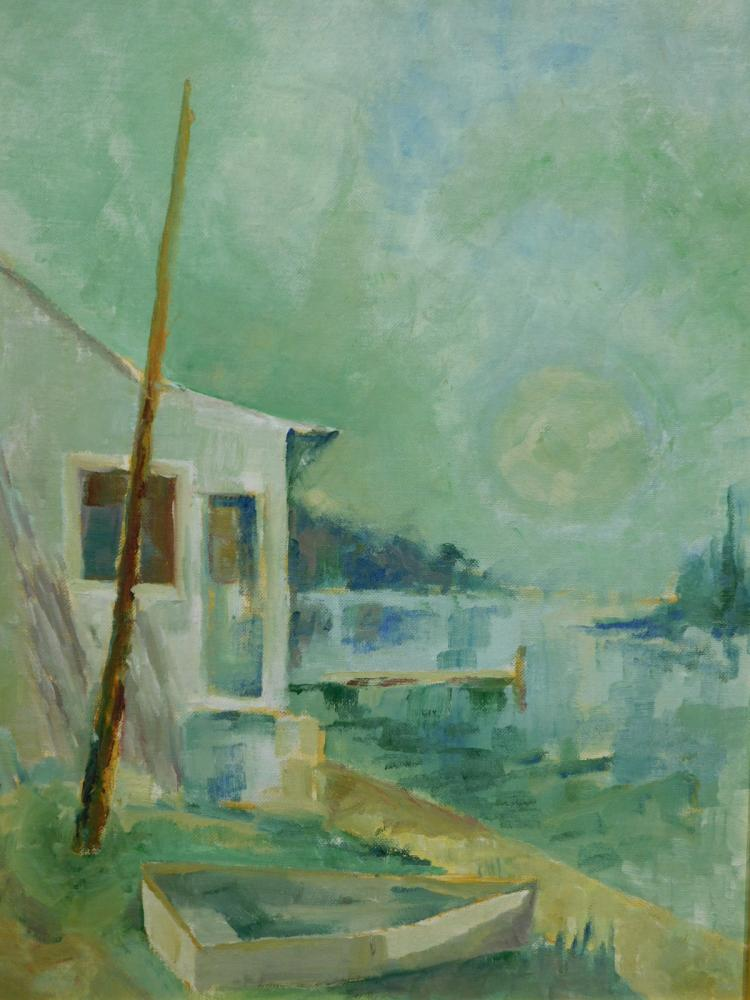 A. Levitt: Lake View With Boat, c.1970, Oil on Canvasboard