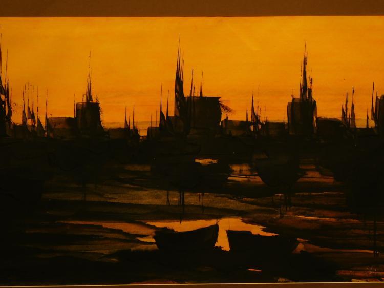 Karl Steiner: Sunset At Harbor, Watercolor