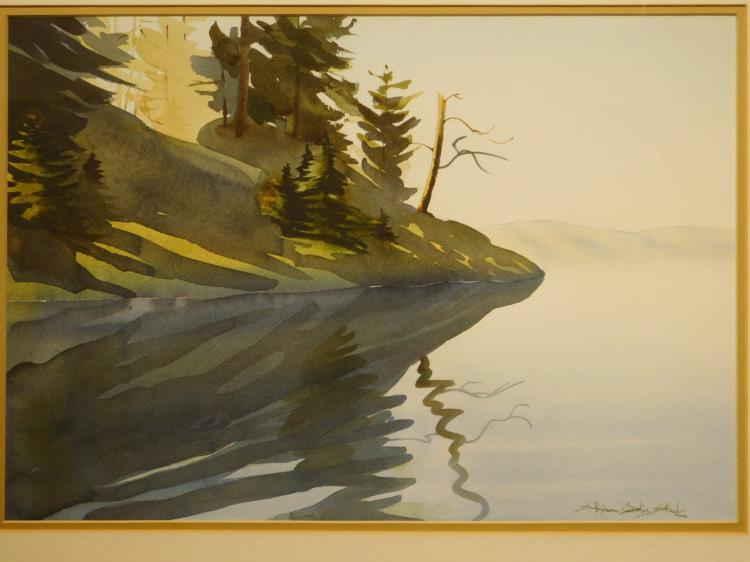 Shoreline Of Calm Lake, Watercolor