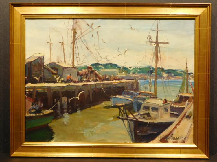 Robert Connavale: Maine Harbor oil painting