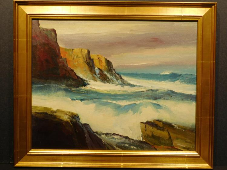 Derrick Holdsworth: Seascape with Rock Cliffs