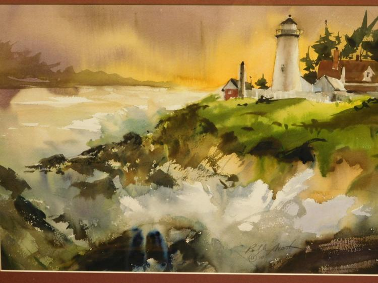 Maine Light House And Surf, 1990 Watercolor