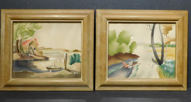 Benjamin Jorj Harris: Pair of Airbrush Pochoir Prints, c.1950