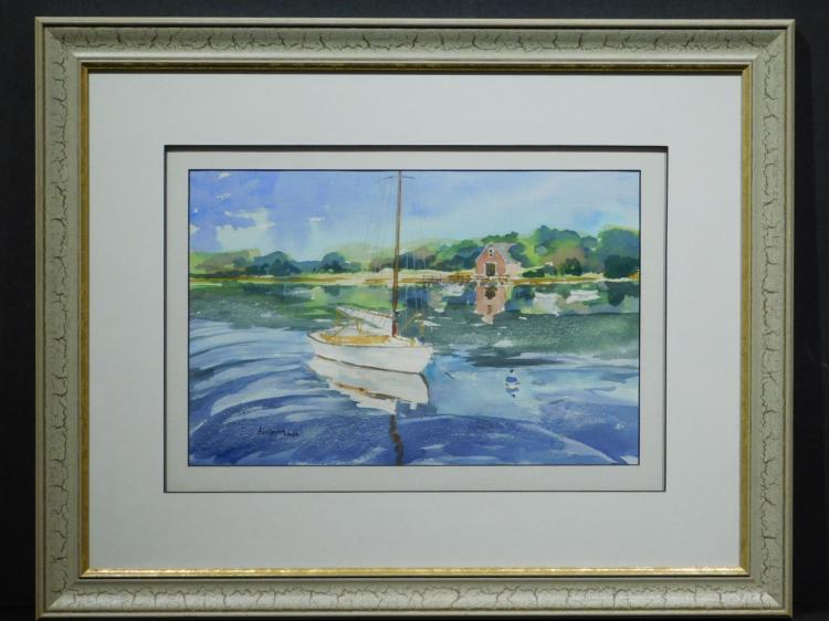 Angelina Wood: Sailboat At Anchor, Watercolor, c.1990