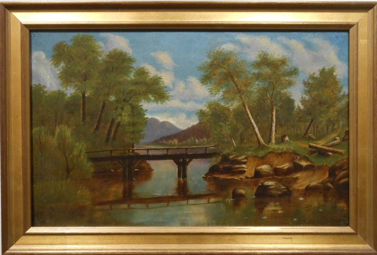 Antique New England Country Landscape With Bridge