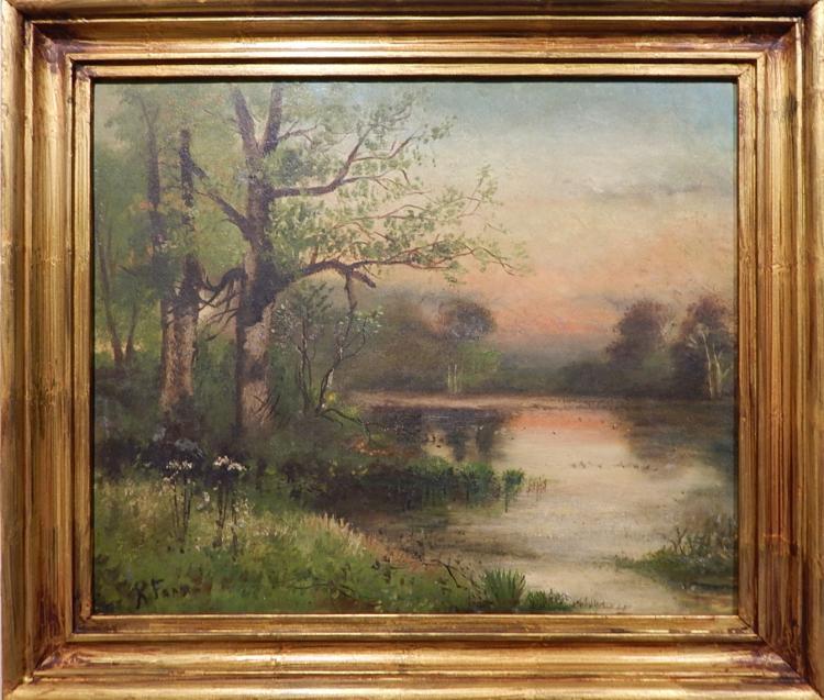 Hudson River School: Landscape Oil Painting 1890's Signed
