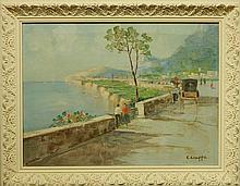 Carlo Ciappa: Boulevard Along The Bay Of Naples, Oil/Canvas
