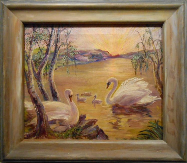 Lie: 1950 Impressionist Swans Oil Painting In Artist-Made Frame
