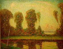 Ernest Harrison Barnes: Impressionist Landscape With Pond