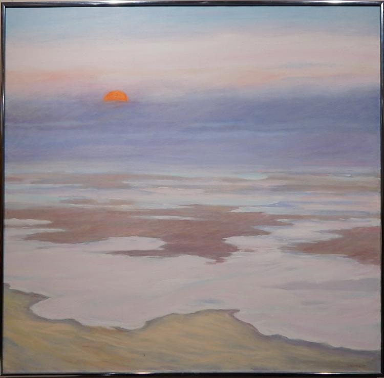 S. Aleman: Fog Rolling In, 1987 Oil Painting By Cape Cod Artist