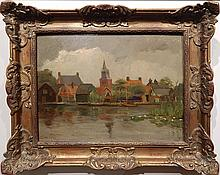 Claas Prins: Dutch Canal Oil Painting