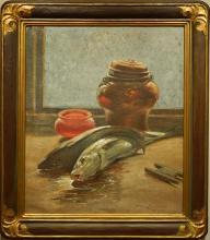 Lundstrom: Still Life With Fish, 1933. Oil on Canvas