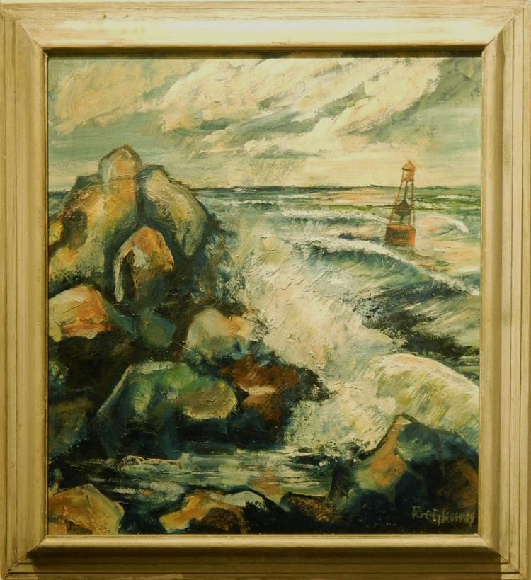 Rob Schus: Waves Crashing On Rocky Coast, Oil on Canvas
