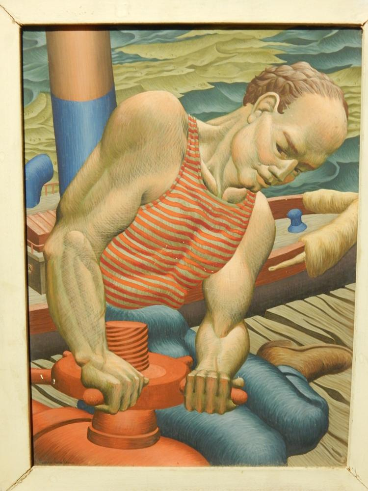 Howard Besnia:  Dock Worker, 1945 Egg Tempera Painting