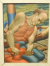 Howard Besnia:  Dock Worker, 1945 Egg Tempera Painting