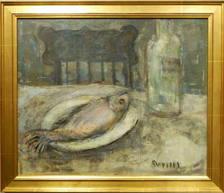 Sweeney: Still Life With Fish: Mid-Century Oil Painting